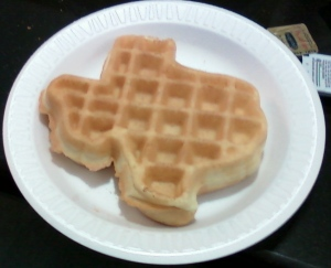 Waffle made with the Texas-shaped waffle iron at the Dallas La Quinta breakfast area